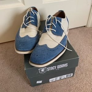 Size 9.5 Stacy Adam Sky Blue and Bone White Shoes